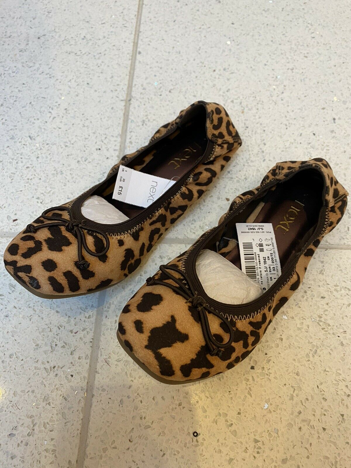 NEW UK Size 1 Ladies Shoes Ballet Pumps Leopard Print Animal Stretchy Bow Flat