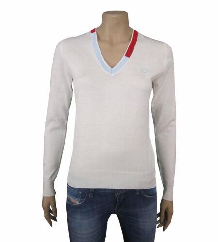 FRED PERRY Damen,Women,Donna,Pullover,Sweatshirt,V-Neck,Made in ITALY,Weiß,NEU,/%