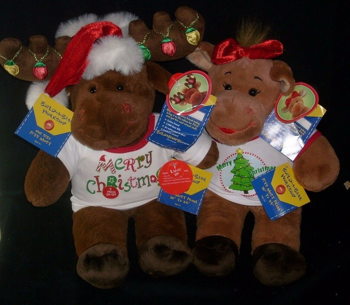 BUILD A A BUILD BEAR CHRISTMAS SHIRTS HOLLY & HAL MOOSE STUFFED ANIMAL PLUSH TOY W/ TAGS 50d4f9