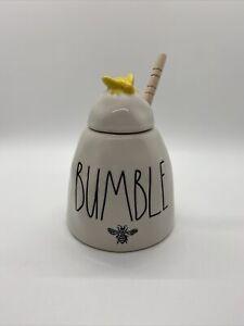 Rae-Dunn-by-MAGENTA-039-BUMBLE-Honey-Pot-Ceramic-Ivory-Yellow-Bee-Wood-Dipper
