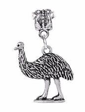 Emu Ostrich Bird Animal Dangle Bead for Silver European Style Charm Bracelets