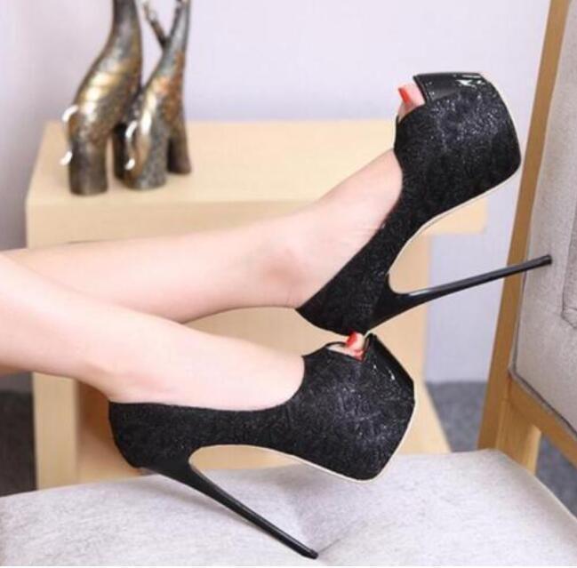 2018 Women Toe Peep Toe Women Super High Heels Stilettos Platform Evening Club Party Shoes 0c5af8