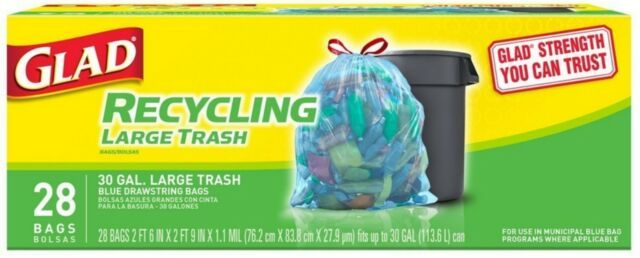 Glad Recycling Large Drawstring Blue Trash Bags 28 Ea