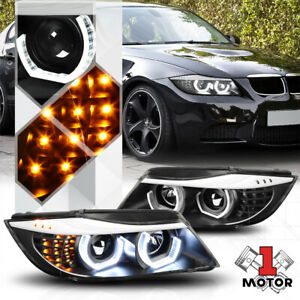 Black Dual[3D LED HALO]Projector Headlight LED Signal for 06-08 BMW E90 3-Series