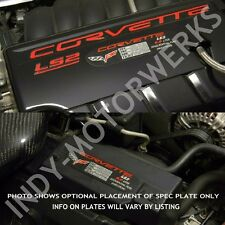 C6 CORVETTE 05 06 07 METAL SPEC ID PLATE LS2 400HP ENGINE PERFORMANCE DETAIL NEW