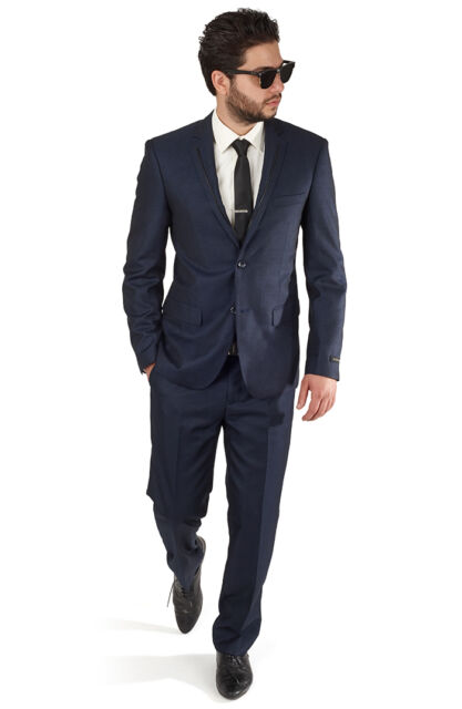 Slim Fit Trim Navy Blue Men's Tuxedo Suit 2 Button Flat Front Pants By AZAR MAN
