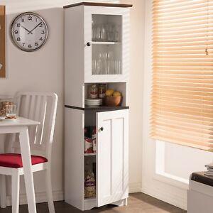 White Kitchen Storage Cabinet Tall Pantry Cupboard Wood 2