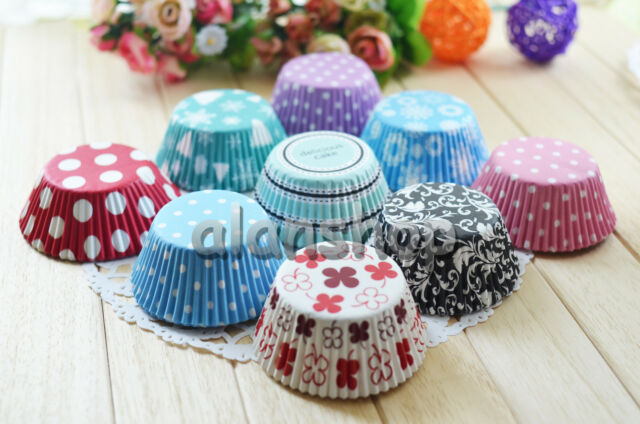 50 pcs Cup Cake and Muffin Paper purple blue pink baking cups liners cases party