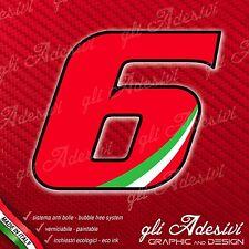 Adesivo Stickers NUMERO 6 moto auto cross gara Rosso & Tricolore 5 cm