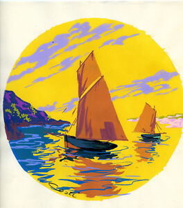 1930s-French-Pochoir-Print-Art-Deco-Seascape-View-Sailboats-Dawn-Sunrise-L