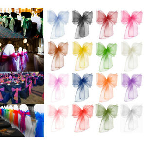 100-Organza-Sashes-Chair-Cover-Mix-Coloured-Wider-Fuller-Bow-Wedding-Party-Decor