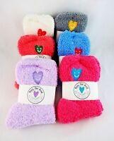 Fuzzy Socks Spring Colors Ladies Crew Length One Size Fits Most Happy Heel Good