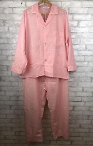 Vintage-NWOT-Pajama-Set-Pants-Shirt-Mens-70s-Cotton-Poly-Pink-Size-D-XL