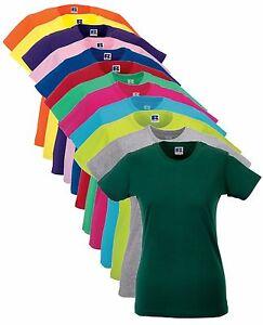 Cotone-Tinta-Unita-Da-Donna-T-Shirt-Slim-Lunghezza-Maggiore