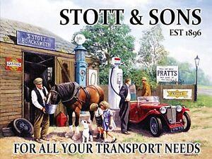 Stott-e-Sons-per-tutti-i-tuoi-MG-GRANDE-INSEGNA-acciaio-400mm-x-300mm-OG