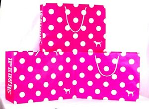 10 New Victoria/'s Secret SMALL Pink Dotted Gift Shopping Paper Bags Polka Dots