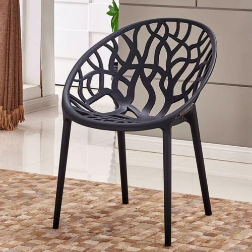 Set of 4 Bird Nest Black White Modern Master Dining Chair Garden Patio Stackable