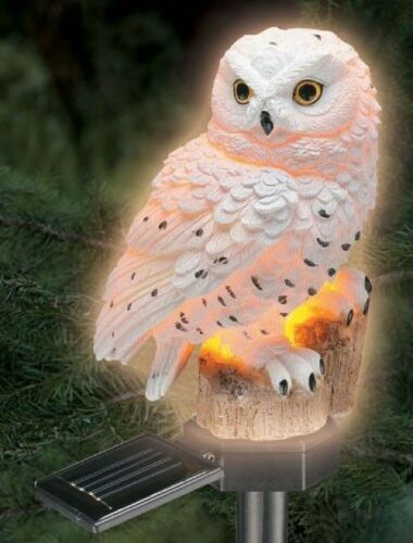 16cm Solar Powered Hand Painted White Owl Garden Patio Lawn Ornament Feature