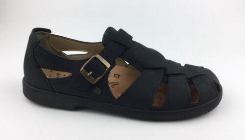 Finn Comfort Womens Black Nubuck Leather Mary Jane