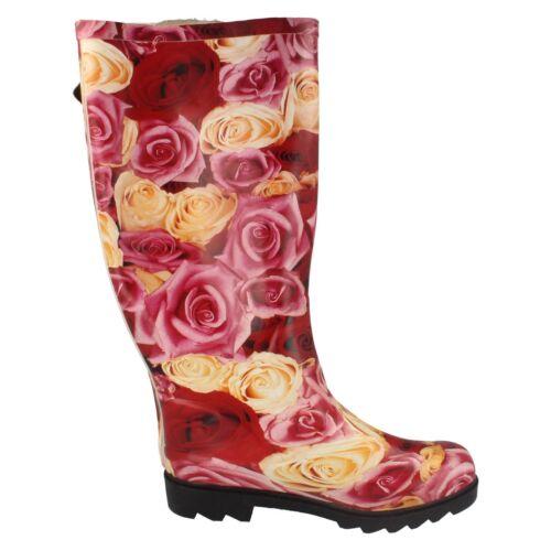 Creme Rosen Aufdruck Gummistiefel von Spot On Damen X1014 Rot//Pink
