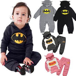 d2e246588c508 ... Bebe-Enfants-Garcons-Filles-Batman-Capuche-Combinaison-Grenouillere-