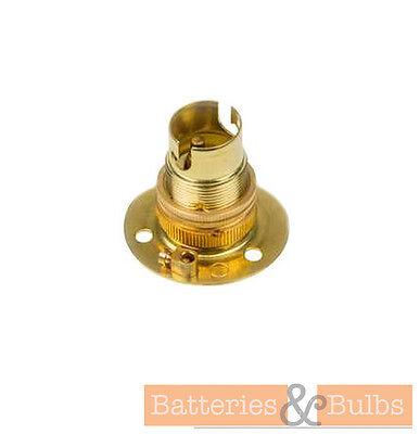 SBC SMALL BAYONET 3 HOLE BATTEN LIGHT BULB LAMP HOLDER WITH SHADE RING FIXING