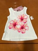 Girls Jillian's Closet Tjmaxx Kids White Floral With Bow Tank Top Size Small 4