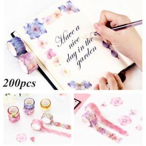 200PCS-Decorative-Sticky-Paper-Flower-Petals-Tape-Scrapbook-Sticker-Tape