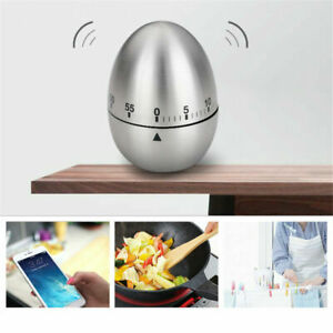 Egg Shaped Mechanical Kitchen Timer Stainless Steel Rotating Alarm Cooking Tool