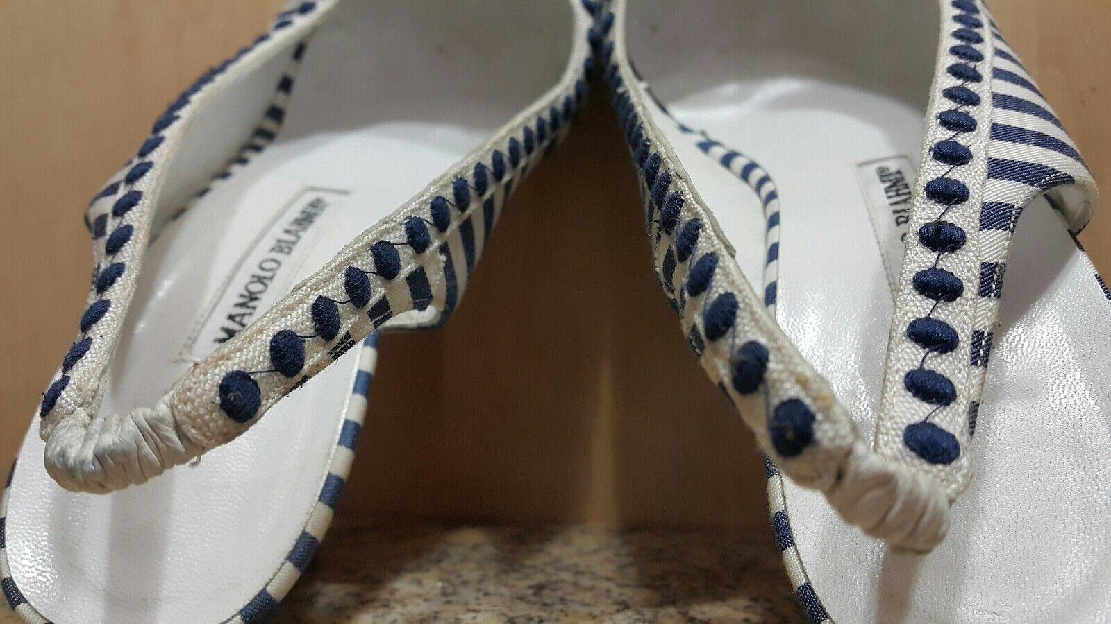 Manolo BLANHIK Blau Blau Blau Weiß Striped Satin Square Toe Slingback Heels 531c52
