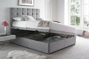 Suede ottoman divan bed base grey black brown for Grey divan bed base