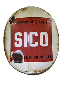 Vintage Sico Oil Gas Pump Plate Visible Style Round 1930s Petroliana