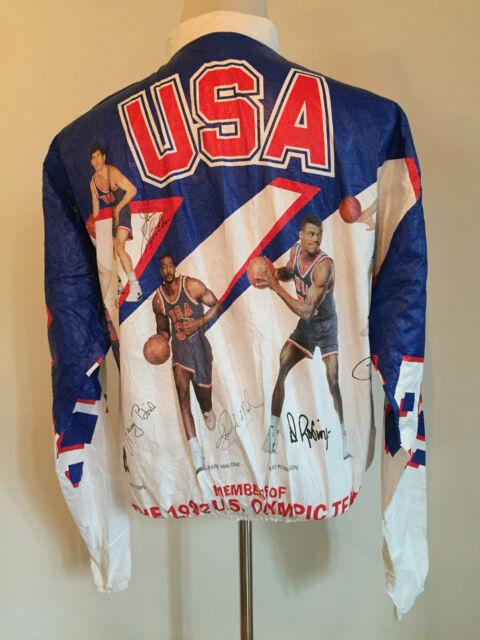 8e8613b3f3e57 VINTAGE 1992 USA OLYMPICS DREAM TEAM TYVEK BASKETBALL HIP HOP JACKET MEN  SIZE L
