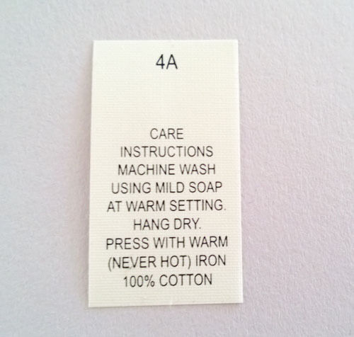 pkg 100 Machine Wash 100/% Cotton Care Sew In Labels Tags #4A