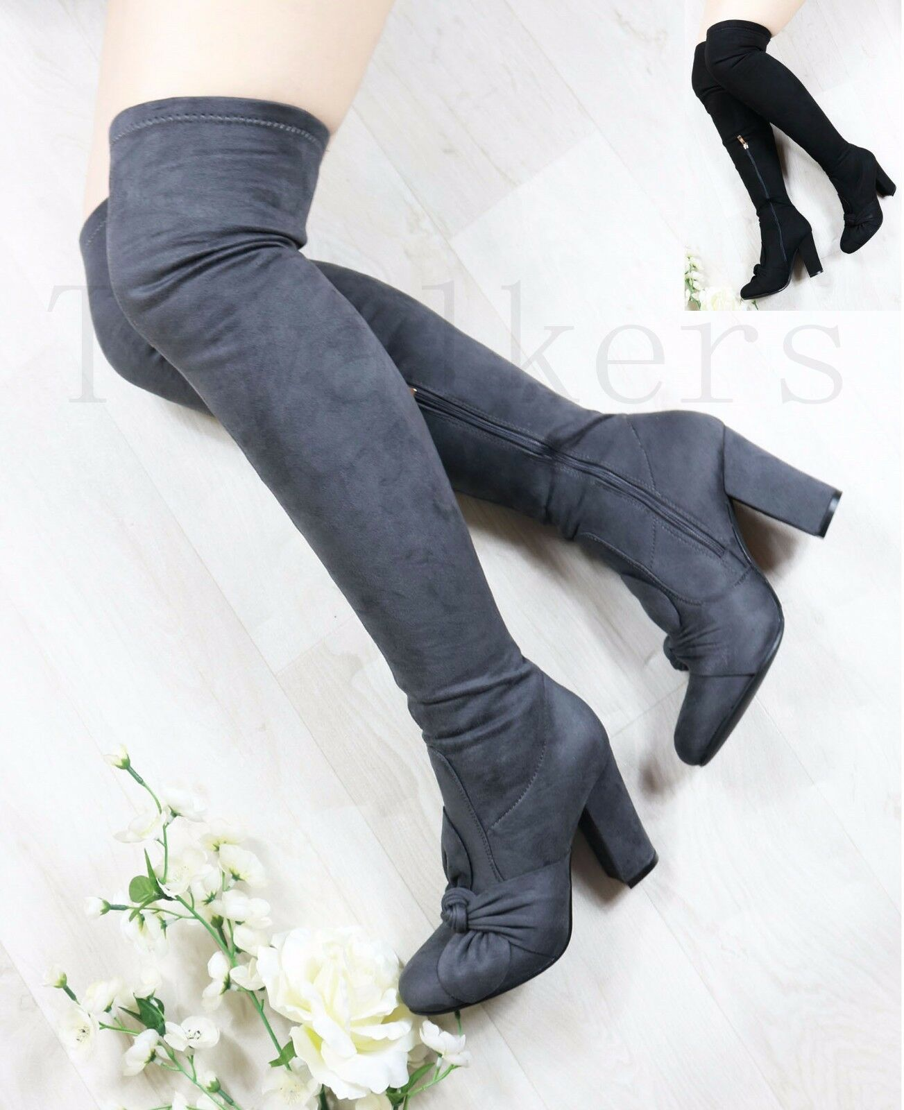 Women Ladies Twist Bow Over Knee Boots High Block Heel Thigh Stretch Shoes Size