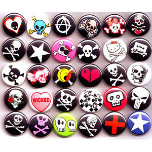 PUNK-EMO-SKULLS-BADGES-Lot-x-30-Buttons-Pins-Wholesale-25mm-One-Inch-1-034