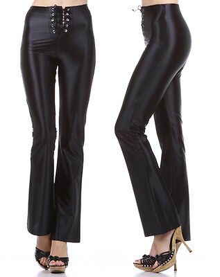 Shiny High Waist Faux Leather Pleather Pants w/ Lace Up Front Fashion Central