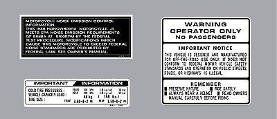 HONDA  Z50R 1993 THRU 1999 WARNING LABEL DECAL SET