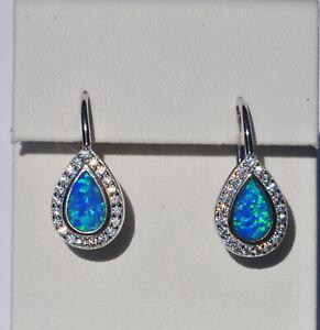 Echt-925-Sterling-Silber-Ohrringe-Zirkonia-Tropfen-blau-synt-Opal-Nr-405B