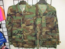 US Military BDU Shirt/Coat -SET OF 2- Woodland Camo Combat-Size SMALL-XLONG