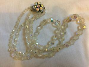 VINTAGE Rainbow Glass Aurora Borealis Double Strand Necklace Beaded Clasp #2