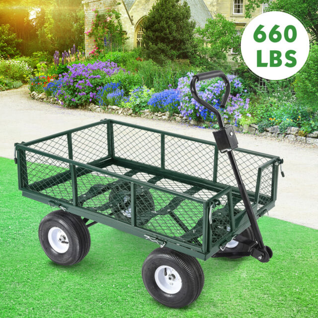 660lbs Heavy Duty Lawn Garden Utility Cart Wagon Wheelbarrow Steel Trailer