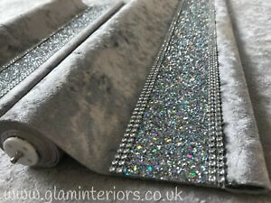 Silver Crushed Velvet Roller Blind With Glitter Trim