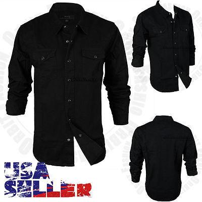 Men's Button Down Casual Denim Cotton Shirts Long Sleeve Black Slim Fit Top S-XL