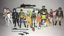 "Star Wars Rebels Lot Of 11 Action Figures + Phantom Shuttle Ship 3.75"" Hasbro"