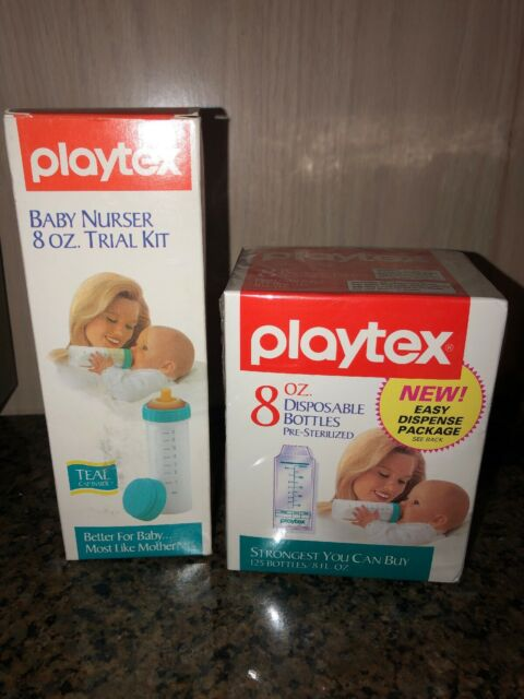 3 Vintage Playtex 8oz Decorated Nurser Bottle Most Like Mother Top Nipples Boys