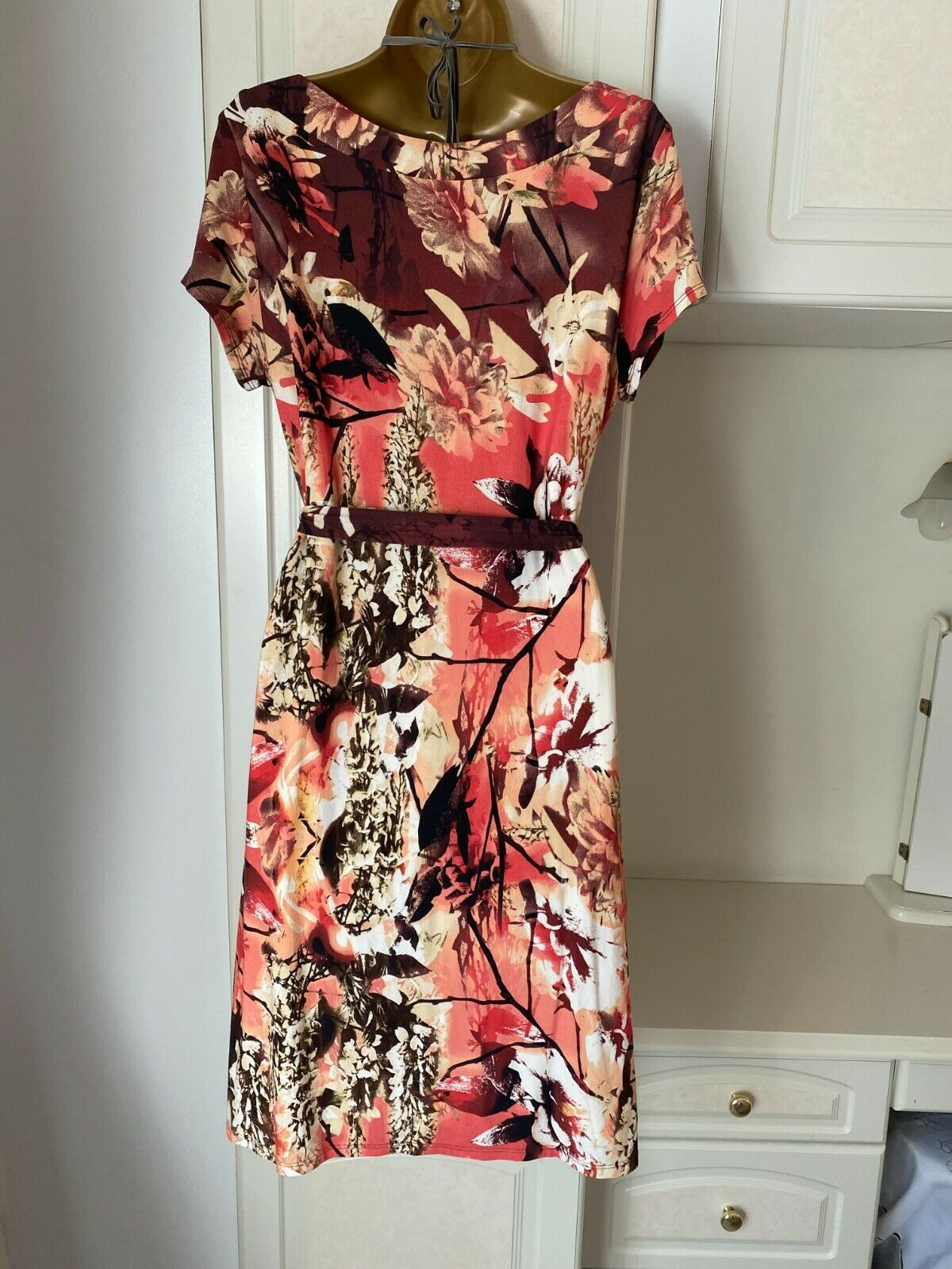 Laura Ashley Size Uk 16 Nwt Of Vibrant Floral Print Lined Dress Bust 40
