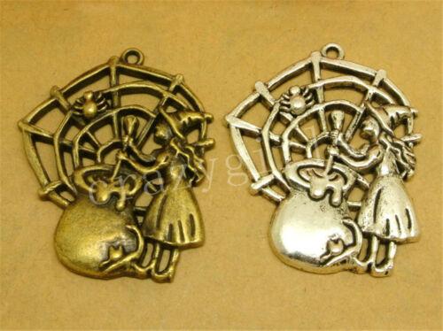 6//30pcs Lot Tibetan Silver Do It Yourself SPIDER/'S WEB Bijoux Charm Pendentif 41x33mm A887C