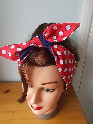HEAD SCARF HAIR BAND NAVY BLUE RED  POLKA DOT SPOTS BUNNY TIE BOW  ROCKABILLY