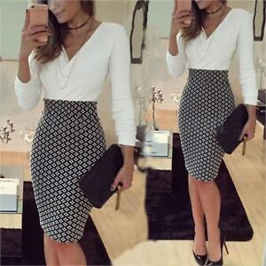 Women-Dress-OL-Formal-Business-Work-Stretch-Party-Cocktail-Slim-Pencil-Dress-HW